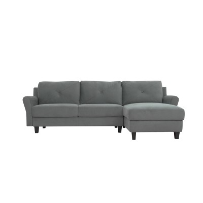 Henry 3 Seat Sectional Sofa with Rolled Arms Dark Gray - Lifestyle Solutions