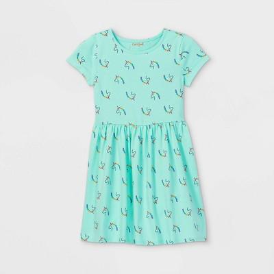 Girls' Printed Knit Short Sleeve Dress - Cat & Jack™