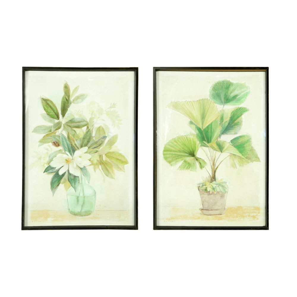 Potted Palm and Flowers in Vase Decorative in Metal Shadowbox Frames - Creative Co-Op was $179.99 now $134.99 (25.0% off)