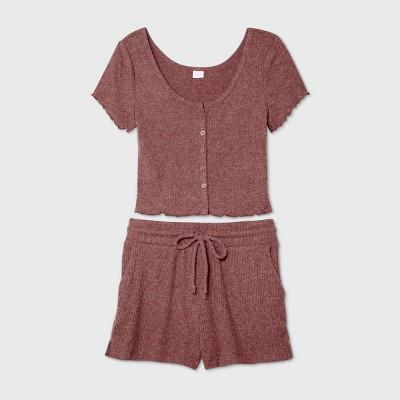 Women's Cozy Rib-Knit Short Sleeve Pajama Set - Colsie™ Rose XL