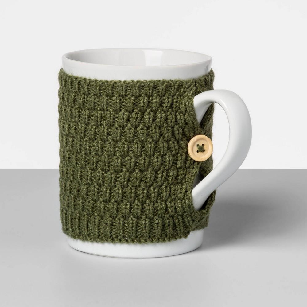 Image of 13oz Stoneware Sweater Mug Green - Opalhouse