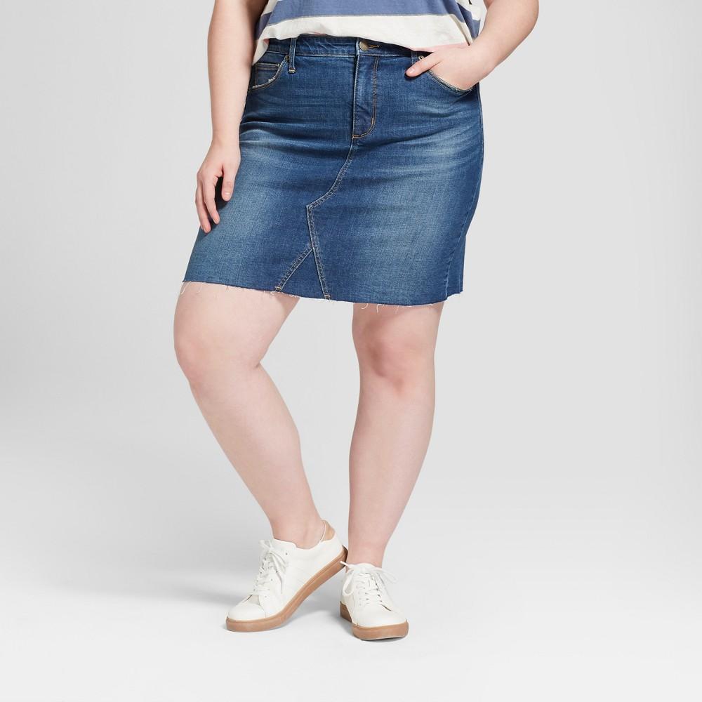 Women's Plus Size Denim Skirt - Universal Thread Dark Wash 24W, Blue