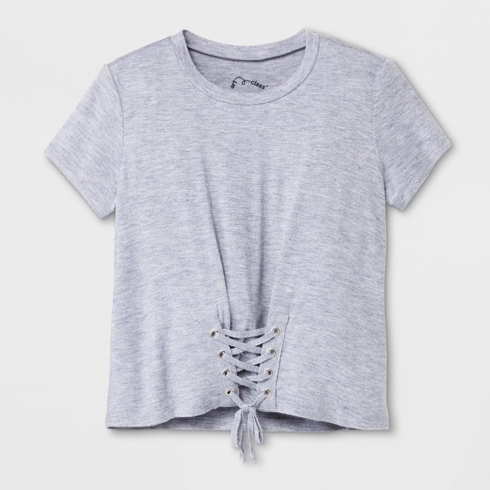Girls' Short Sleeve Corset T-Shirt - art class Heather Gray L