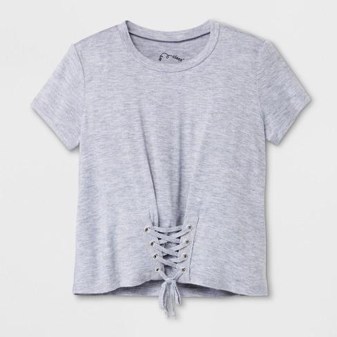af1ccdcab7752 Girls  Short Sleeve Corset T-Shirt - Art Class™ Heather Gray   Target