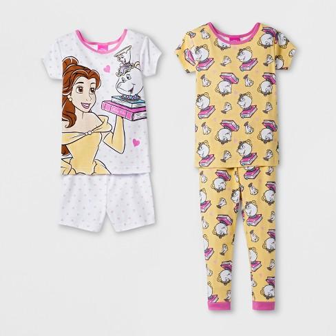 Toddler Girls  Disney Princess 4pc Pajama Set - White   Target 802f766d8