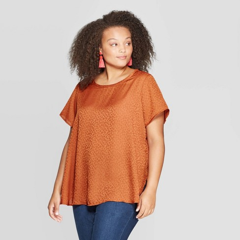 Women's Plus Size Short Sleeve Crewneck Top - Ava & Viv™ - image 1 of 2
