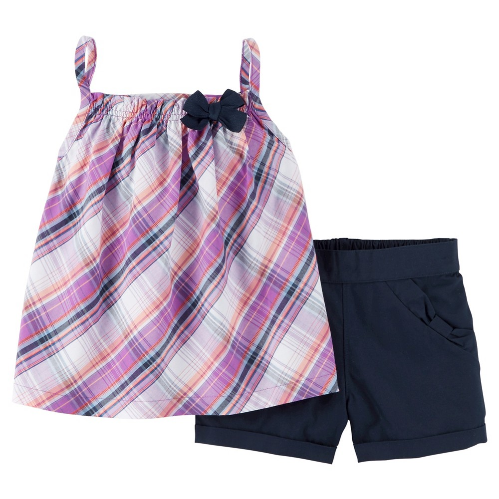 Toddler Girls' 2pc Plaid Shorts Set - Just One You Made by Carter's Purple 5T, Purely Purple