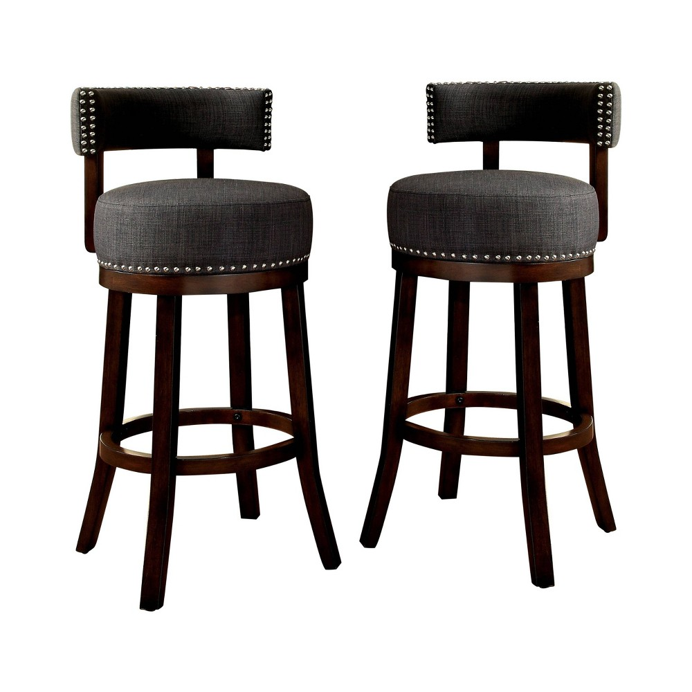 "Image of ""24"""" Set of 2 Jefferson Barstool w/Upholstered Seat Dark Oak/Gray - ioHOMES, Dark Brown/Gray"""