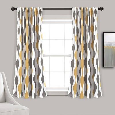 Set of 2 Mid-Century Geo Room Darkening Window Curtain Panels - Lush Décor