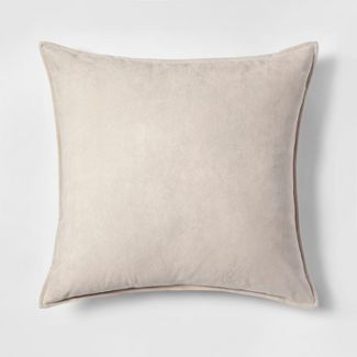 Faux Suede Oversize Square Throw Pillow Neutral - Project 62™