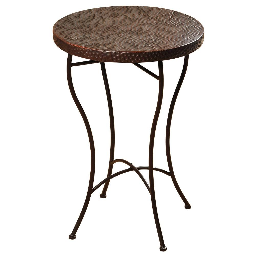 Round Hammered Copper Side Table Bronze Powder Coat Stylecraft