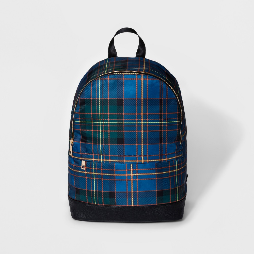 Plaid Nylon Dome Backpack - A New Day Blue