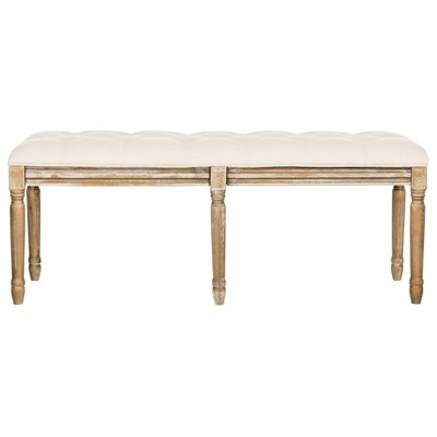 Rocha Tufted Traditional Wood Bench - Safavieh