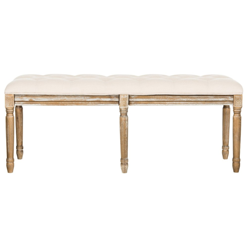 Rocha Tufted Traditional Wood Bench - Beige - Safavieh