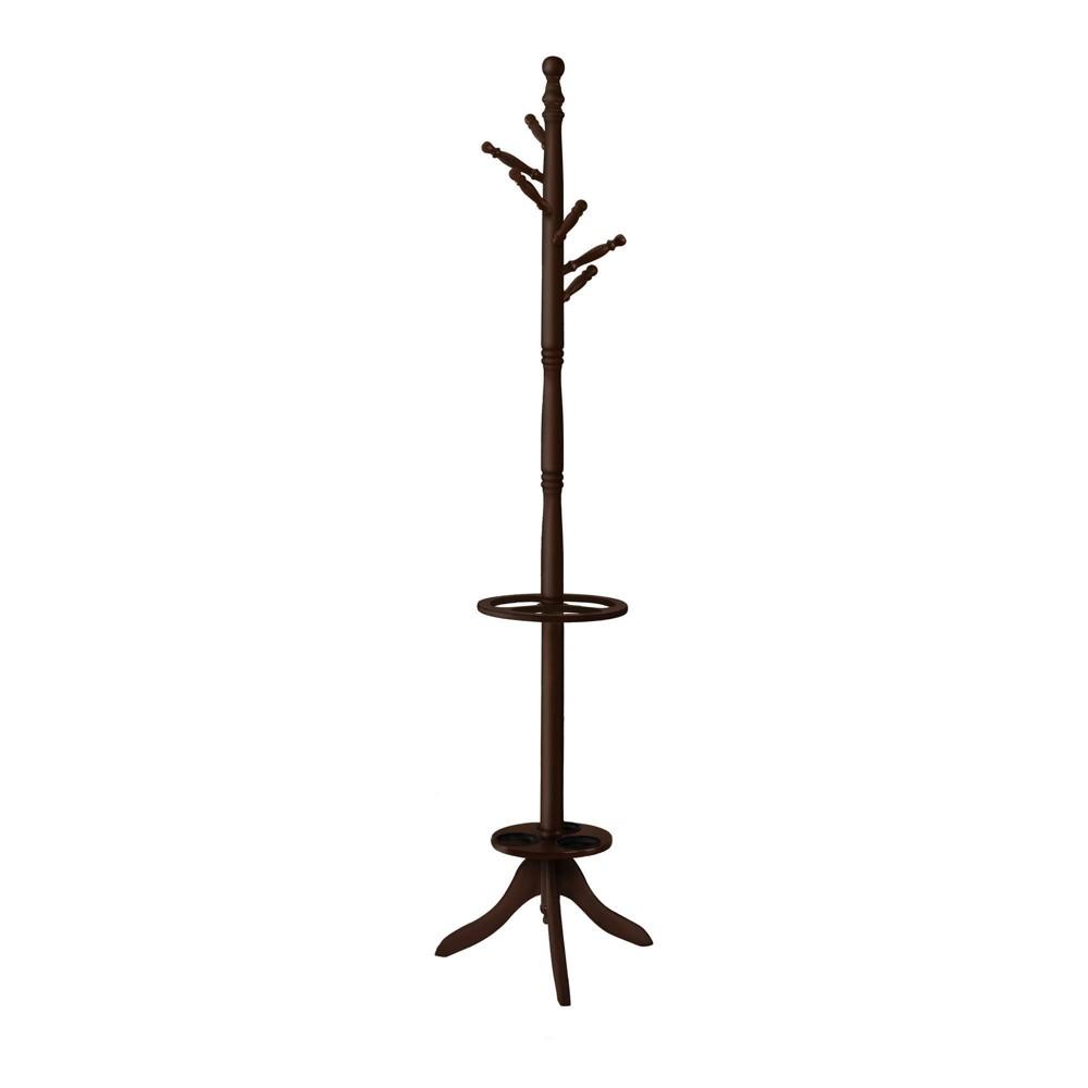 71 34 Coat Rack With Umbrella Holder Dark Cherry Everyroom