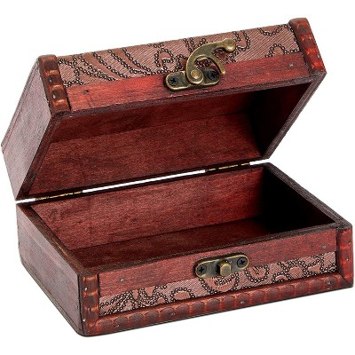 Juvale Wooden Treasure Chest Jewelry Box for Storage, Antique Floral Design (5.45 x 4.1 x 2.5 Inches)