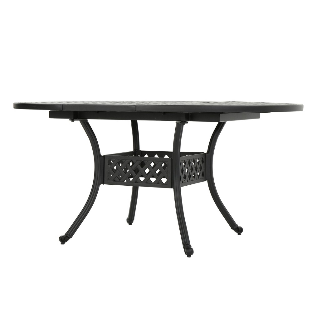 Stock Island Round Aluminum Expandable Dining Table - Black Sand - Christopher Knight Home