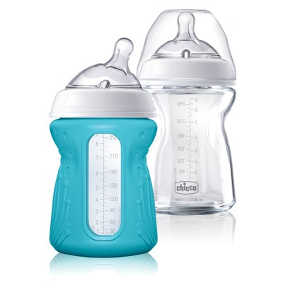 Chicco NaturalFit Glass Bottle 0M+ Slow Flow With Bonus Silicone Sleeve - 9oz (2pk)