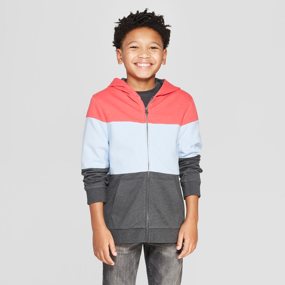 Boys' Colorblock Hooded Sweatshirt - Cat & Jack Red/Blue XS