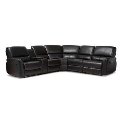 5pc Amaris Modern and Contemporary Bonded Leather Power Reclining Sectional Sofa with USB Ports - Baxton Studio