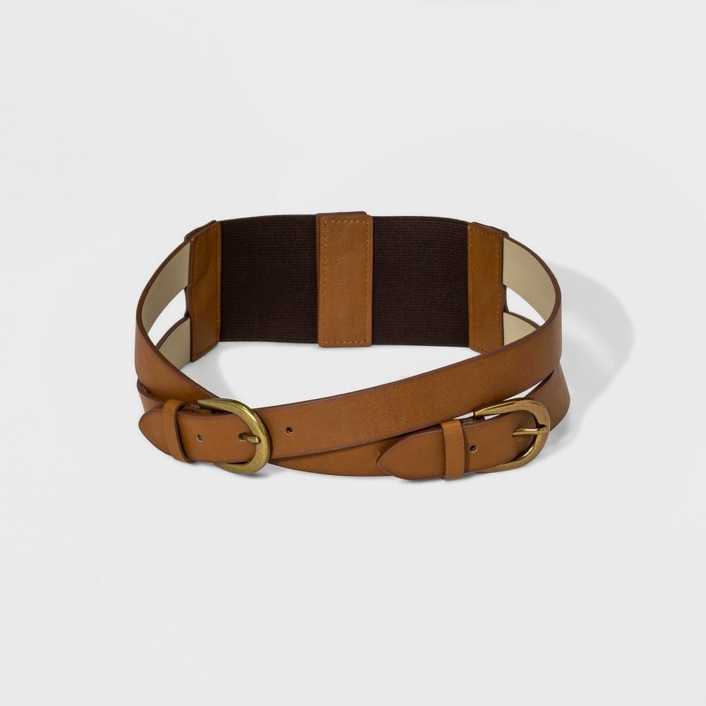 Women's Double Crossed Straps Stretch Belt - Universal Thread Black L, Brown