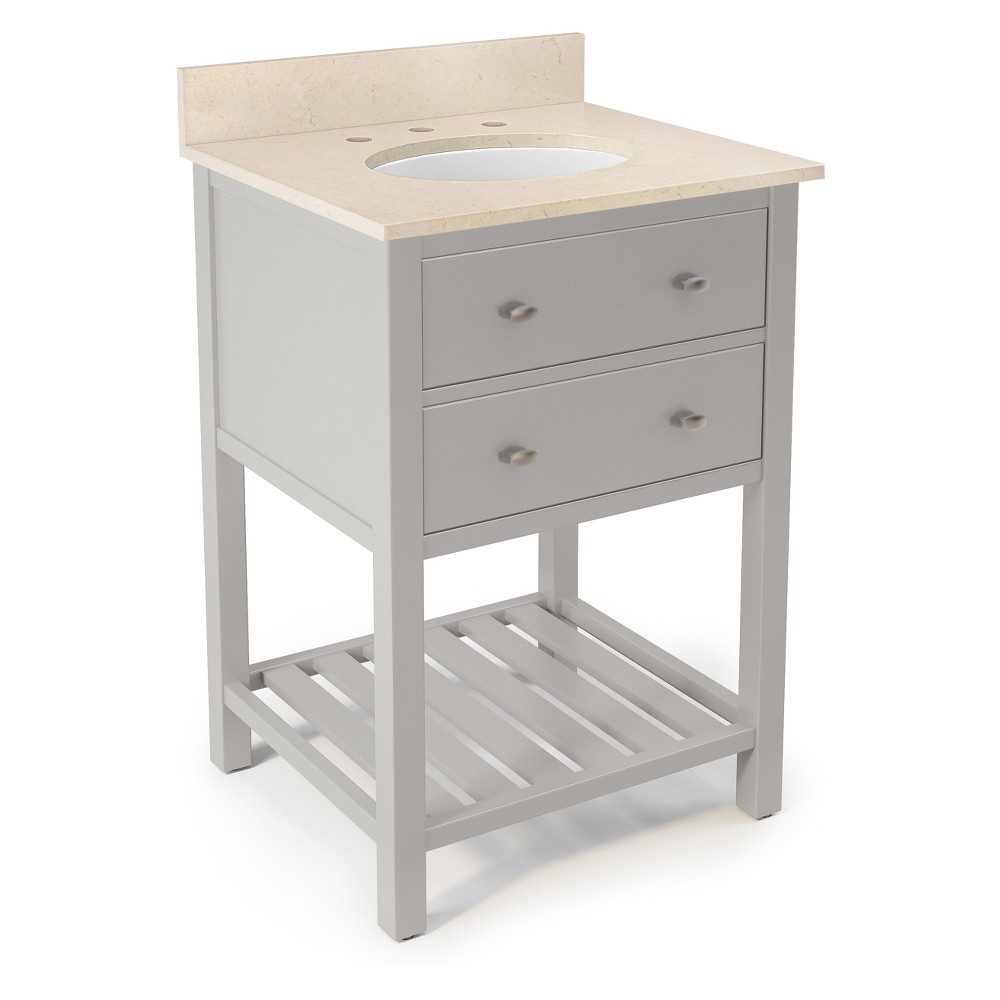 Harrison with Beige Marble Sink Top Set Bath Vanity Cabinet Gray 25 - Alaterre Furniture