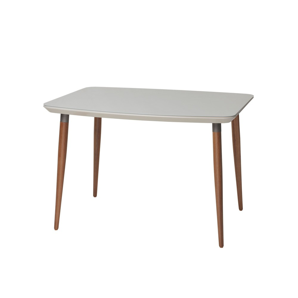 62.99 Charles Modern Round Edge Rectangular Dining Table with Glass Top Maple Cream/Off-White (Maple Cream/Beige) - Manhattan Comfort
