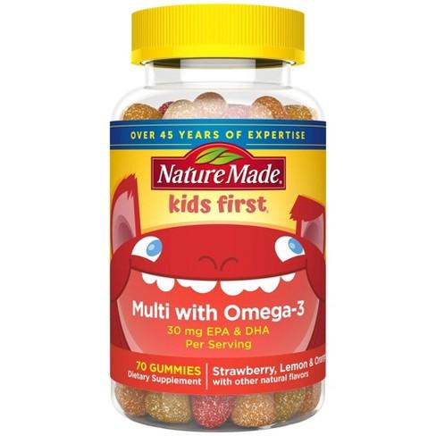 Nature Made Kids First Multivitamin Omega 3 Gummies Strawberry Lemon Orange 70ct Target