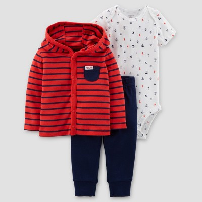 Baby Boys' 3pc Cardigan Set - Just One You® made by carter's Red/Navy 3M
