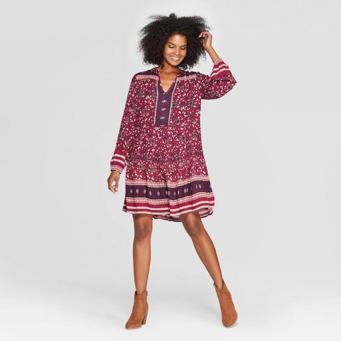 Women's Floral Print Long Sleeve V-Neck Shift Midi Dress - Knox Rose™ Pink - image 1 of 2