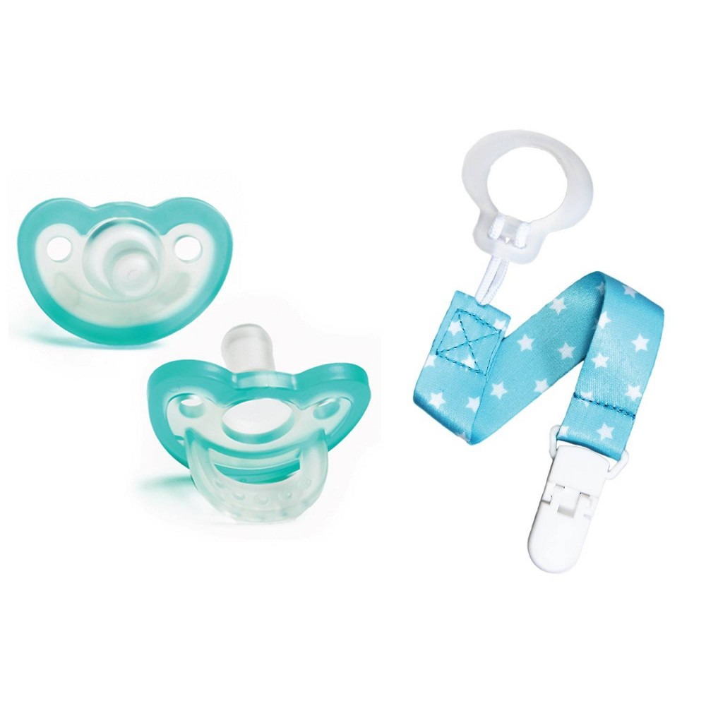 Image of RaZbaby JollyPop Pacifier With Universal Holder 2pk - Blue