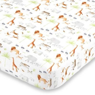 NoJo Watercolor Jungle Animals Crib Sheet Mini Fitted Crib Sheet