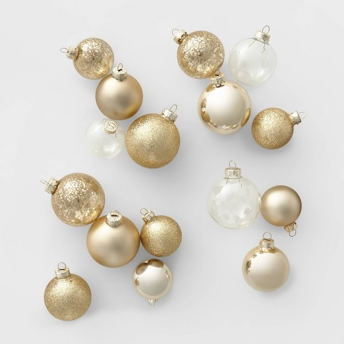 42ct Glass Round Christmas Ornament Set Gold and Clear - Wondershop™ - image 1 of 2