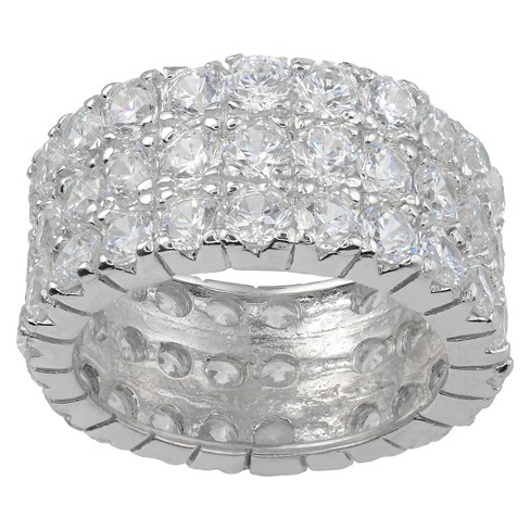 8 1/5 CT. T.W. Round-Cut Cubic Zirconia Basket Set Wedding Band in Sterling Silver - Silver (7) - image 1 of 2
