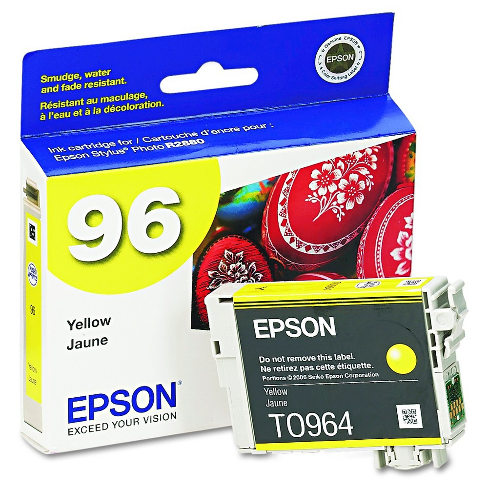 Epson 96 Single Ink Cartridge - Yellow (EPST096420) Brilliant color is delivered with the Epson Stylus Photo Printer UltraChrome K3 Ink Cartridge - Yellow (EPST096420). The Epson printer ink works with high-volume print jobs to deliver consistent color on your professional and home-based print jobs. The printer ink cartridge is compatible with the Epson Stylus Photo R2880.