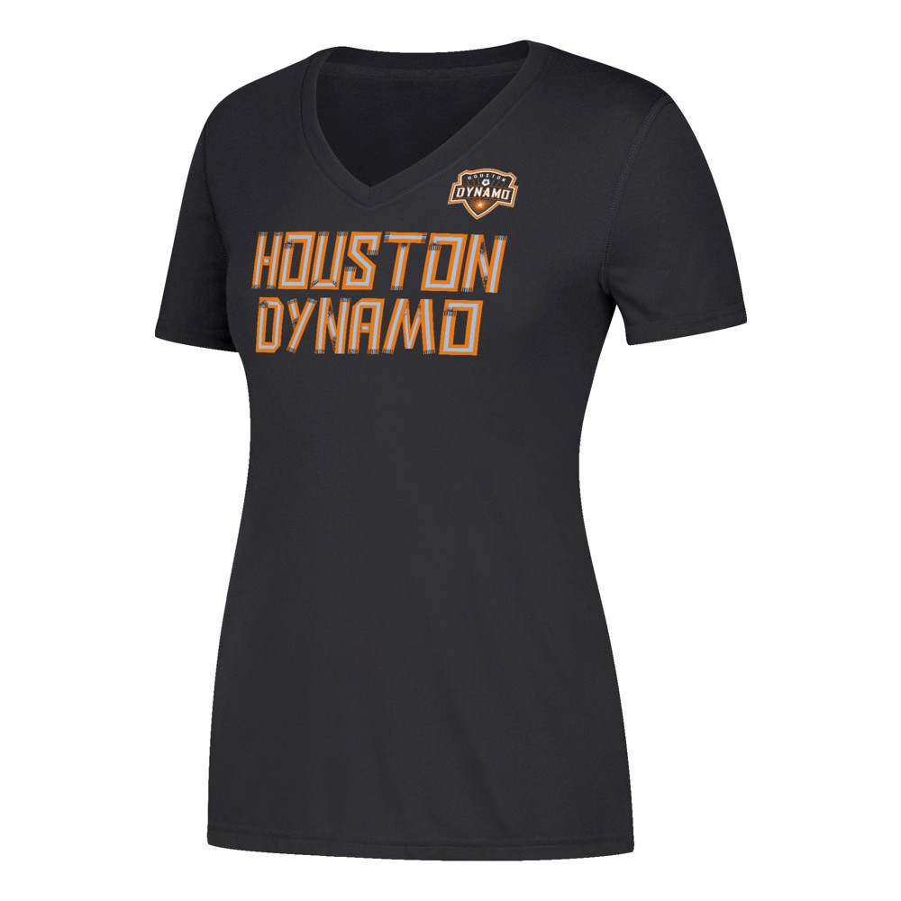 Women's Short Sleeve On the Pitch V-Neck T-Shirt Houston Dynamo M, Multicolored