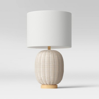 Rattan Table Lamp White (Includes LED Light Bulb) - Threshold™