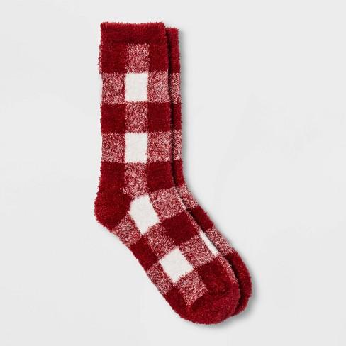 Women's Buffalo Check Plaid Cozy Crew Socks - A New Day™ 4-10 - image 1 of 2