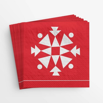 20ct Snowflake Beverage Napkin Red - Wondershop™