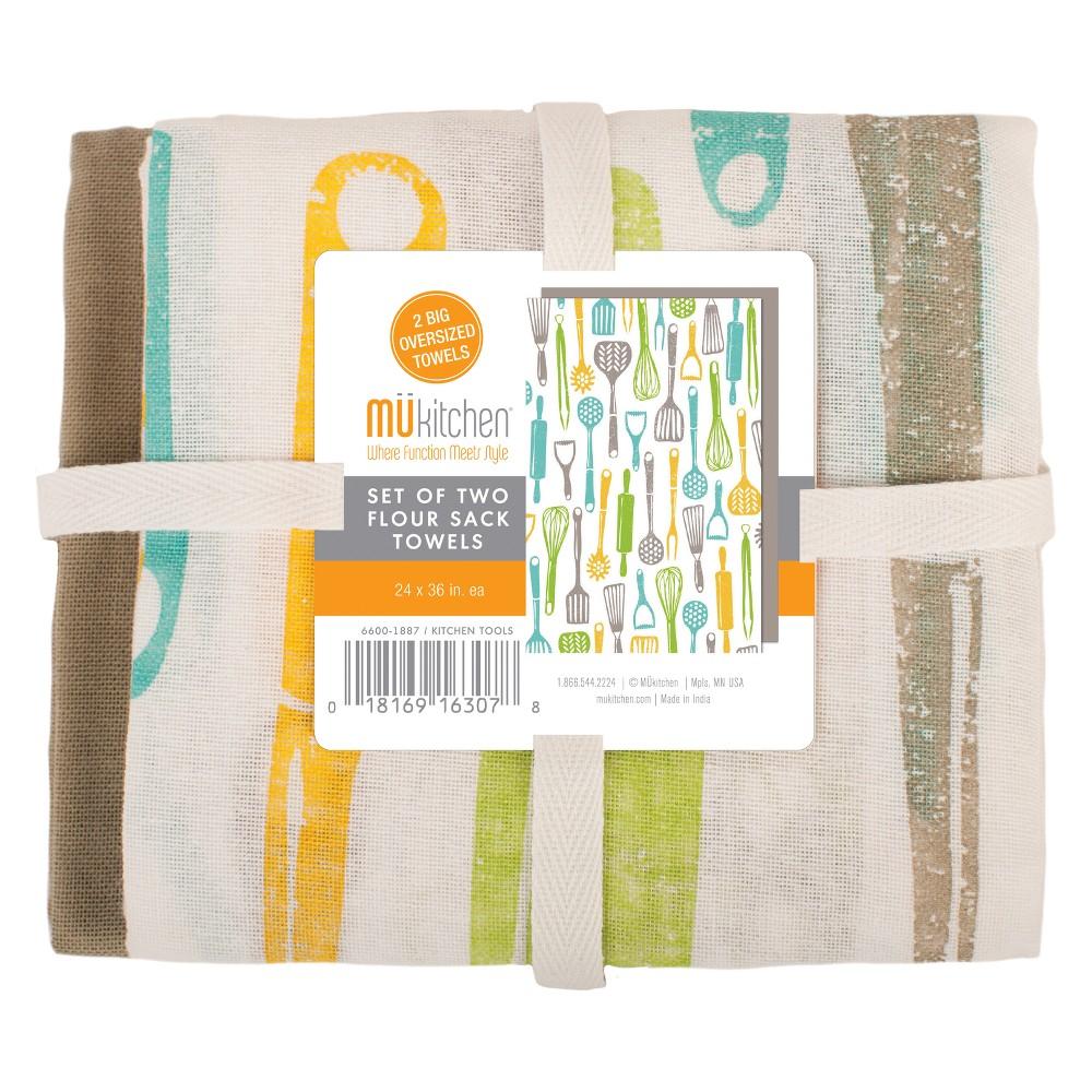 Image of 2pk Kitchen tools Towel White Green/Aqua - Mu Kitchen