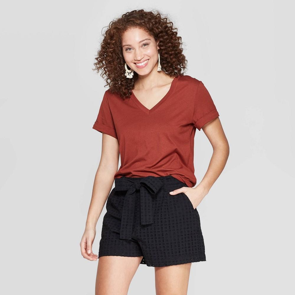 821de9e88 Womens Short Sleeve V Neck T Shirt A New Day Brown L