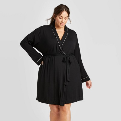 Women's Plus Size Beautifully Soft Robe - Stars Above™ Black 3X-4X