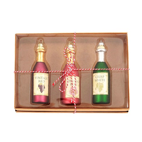 Glass Wine Bottles Christmas Ornament Set 3ct - Wondershop™ - image 1 of 2