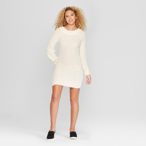 Women's Long Sleeve Off the Shoulder Eyelash Sweater Dress - Almost Famous (Juniors') Ivory - image 1 of 2