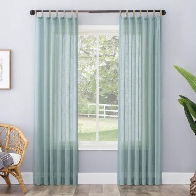 Ceri Linen Textured Jute Tabs Semi-Sheer Curtain Panel - No. 918