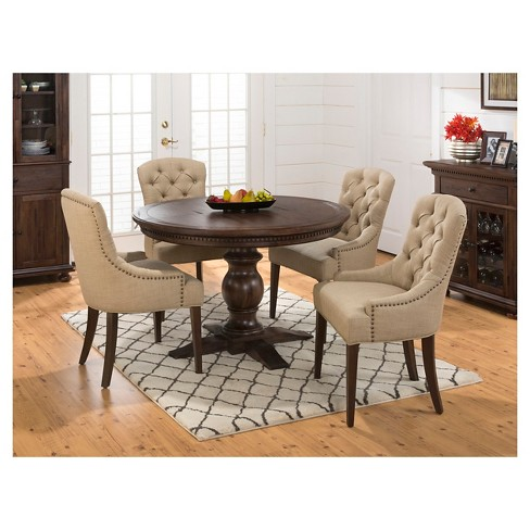 Geneva Hills 5 Piece Round Dining Set With Tufted Side