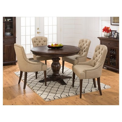 Geneva Hills 5 Piece Round Dining Set With Tufted Side Chairs Wood/Rustic  Brown   Jofran Inc. : Target