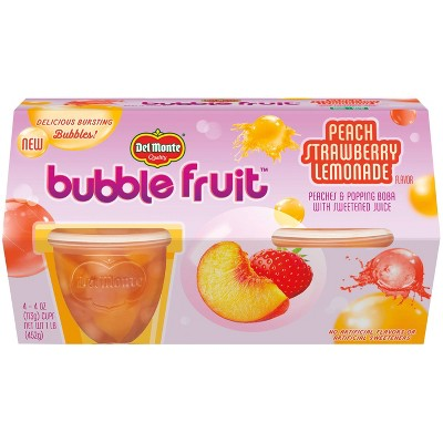 Del Monte Peach & Strawberry Lemonade Bubble Fruit Cups - 4ct