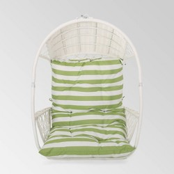 Malia Outdoor Wicker Hanging Chair (Stand Not Included)  White/Green - Christopher Knight Home