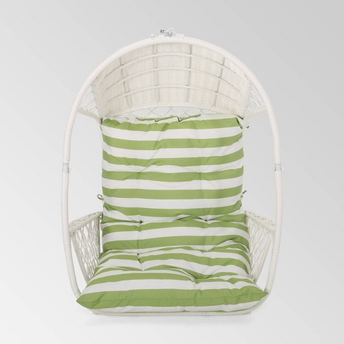 Malia Outdoor Wicker Hanging Chair (Stand Not Included)  White/Green - Christopher Knight Home - image 1 of 4